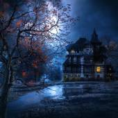 Macabre house in the night — Stock Photo