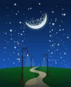 Fantasy pathway at night — Stock Photo