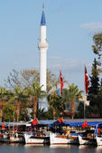 Flags Around Minaret — Stock Photo