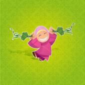Vector - Girl celebrating Hari Raya Aidilfitri — Stock Vector