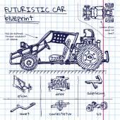 Vector doodle futuristic car scheme in exercise book — Vecteur