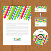 Vector retro corporate identity template with color stripes — Stock Vector