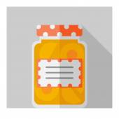 Vector color flat homemade jam bottle template — Stock Vector