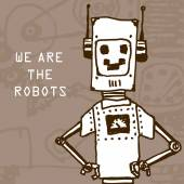 Vector hand draw robot on retro background. Eps10 — Vetor de Stock