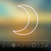Flat moon and weather icon set — Stock Vector