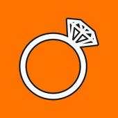 Flat wedding ring icon — Cтоковый вектор