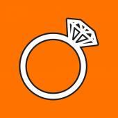 Flat wedding ring icon — Stockvector