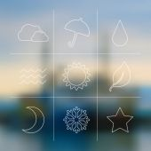 Flat weather icon set on blur — Stock Vector