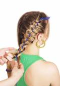 Braiding. Four strand braid with a ribbon — Stockfoto