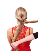 Braiding. A braid of two strands — Stock Photo