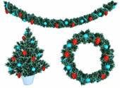 Christmas garland and a wreath with holly berries isolate — Stock Photo
