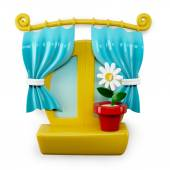 3d Cartoon Home Window Isolated on White Background — Stock Photo