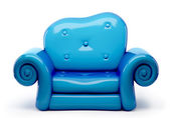 3d sofa cartoon isolated on white — Stock Photo