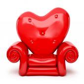 3d red sofa cartoon on heart shape isolated on white — Stock Photo