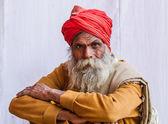 A Hindu Pilgrim at the Kumbha Mela, India. — Stock Photo