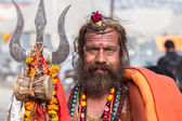 A Hindu Sadhu at the Kumbha Mela, India. — Stock Photo