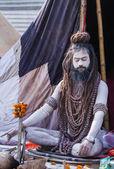 Hindu Sadhu at the Kumbha Mela in India. — Stock Photo