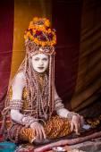 A Hindu priest at the Kumbha Mela in India. — Stock Photo