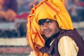A young Hindu priest at the Kumbha Mela in India. — Stock Photo