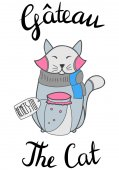 Cute abstract funny cat wishing to get well — Stok Vektör