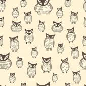 Halloween seamless owls pattern — ストックベクタ