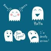 Funny halloween ghosts set — Stock Vector