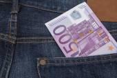 Euro (EUR) in a pocket. — Stock Photo