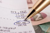 Circled number on the check — Stock Photo
