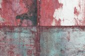 Scratched and rusty red metal surface — Stock Photo