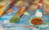 ペイント ブラシとオイル塗料 — ストック写真