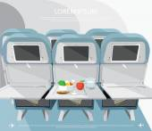 Airplane seats with opened tables — Stock Vector