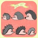 Set of cute cartoon hedgehogs — Stock Vector #52994961
