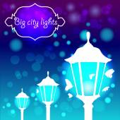 Streetlights with butterfly — Stock Vector