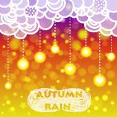 Rain of heart and stars with clouds, autumn background — Stock Vector
