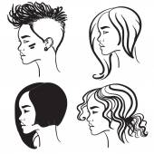 Four face in profile. Vector silhouettes of girls hairstyles — Stock Vector