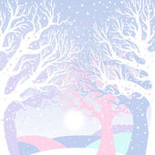 New year card with winter forest — Vecteur