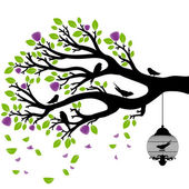 Vector drawing of the tree with cages — 图库矢量图片