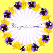 Greeting card with narcissus and pansy flower — Stockvector