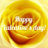 Happy Valentine Day Text on Blurred Background with rose Flower — Stock Vector