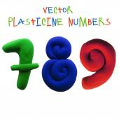 Icon of plasticine numbers — Stock Vector