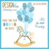 Ilustração em vetor de cavalo de pau de bebê para menino — Vetor de Stock