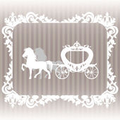 Carriage pulled by two horses.  — Stock Vector