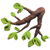 Icon of plasticine tree branch — Stock Vector