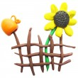Icon of plasticine fence, pitcher and sunflower — Stock Vector #72360347