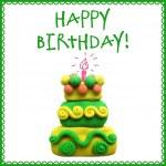 Icon of plasticine birthday cake — Stock Vector #72606499