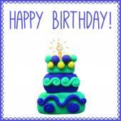 Icon of plasticine birthday cake — Stock Vector