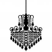 Chandelier silhouette isolated on White background — Stockvektor