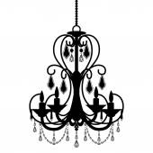 Chandelier silhouette isolated on White background — Stockvector