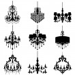 Chandelier silhouette isolated on White background — Stock Vector #73513091