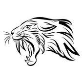 Isolated head of saber tooth tiger - vector — Stock Vector